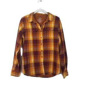 KUHL Orange & Yellow Button Down Plaid Top Small